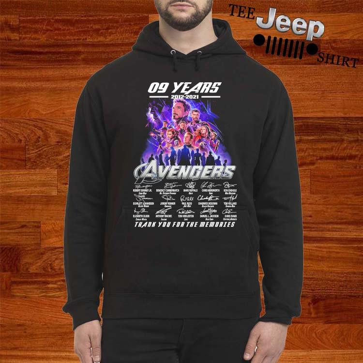 09 Years 2012 2021 Avengers Thank You For The Memories Signatures Shirt hoodie