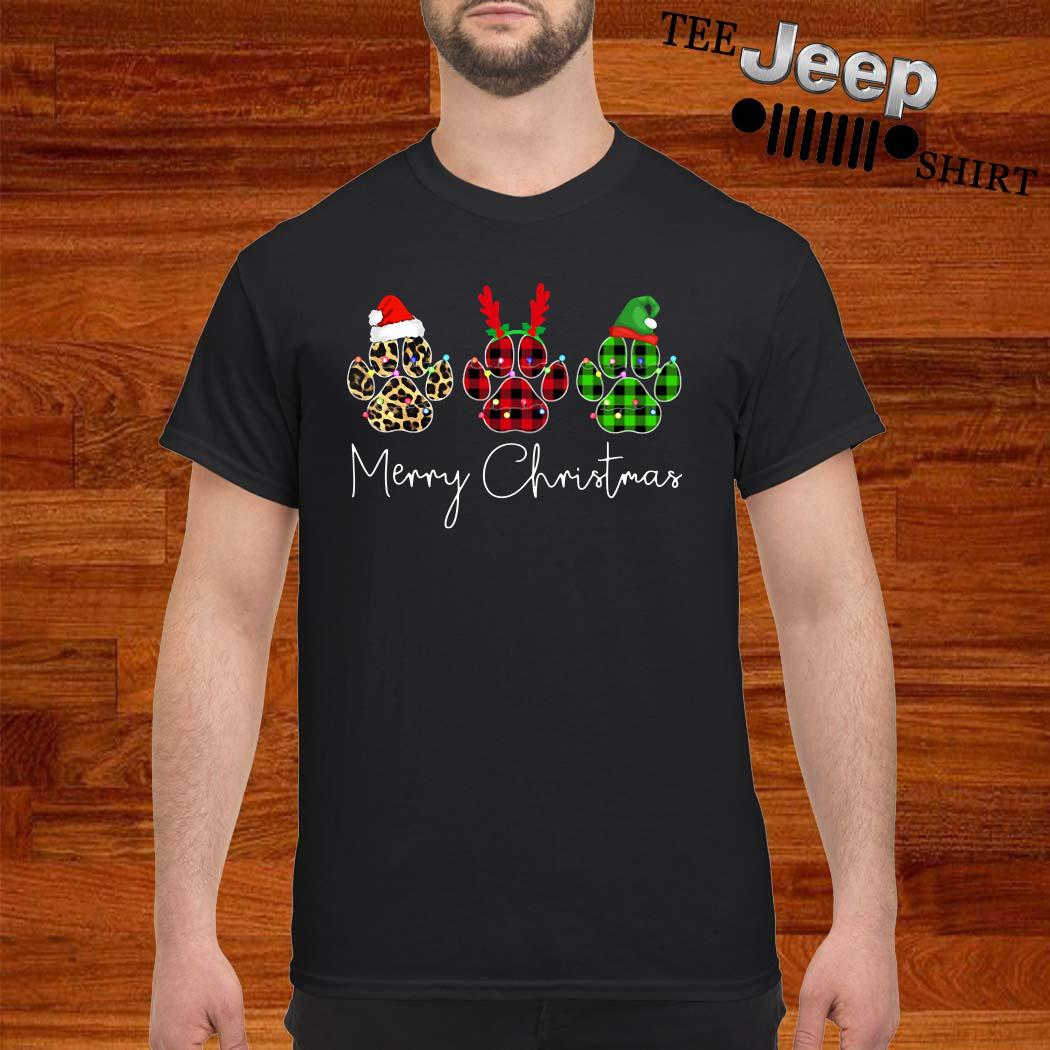 Dog Paws Leopard Plaid Printed Merry Christmas Shirt