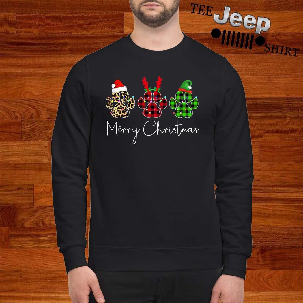 Dog Paws Leopard Plaid Printed Merry Christmas Sweatshirt