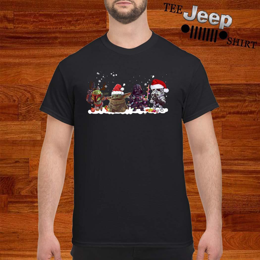 Death Star Darth Vader Stormtrooper Chibi And Baby Yoda Christmas Shirt