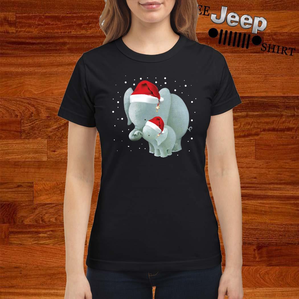 Elephants Mom And Baby Christmas Ladies Shirt