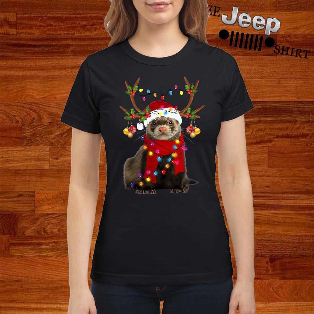Ferret Gorgeous Reindeer Christmas Ladies Shirt