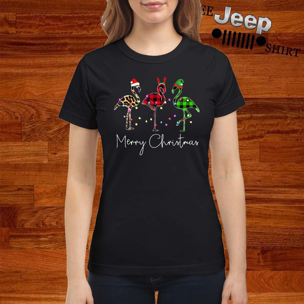 Flamingo Leopard Plaid Printed Merry Christmas Ladies Shirt