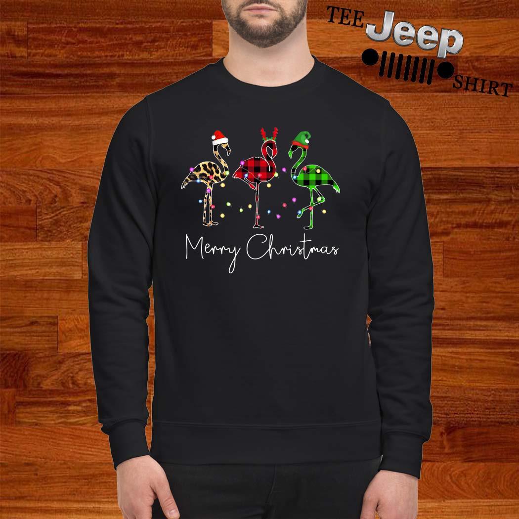 Flamingo Leopard Plaid Printed Merry Christmas Sweater