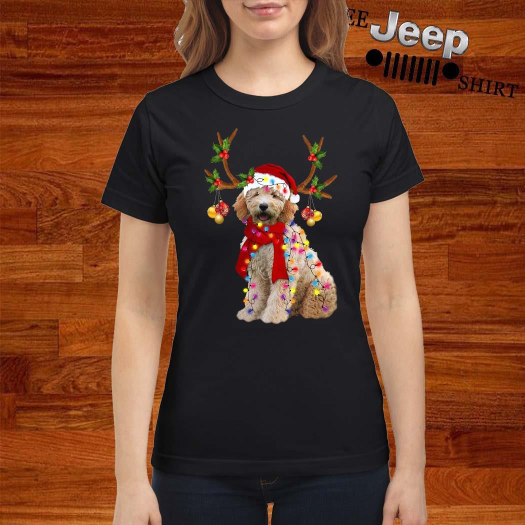 Goldendoodle Gorgeous Reindeer Christmas Ladies Shirt