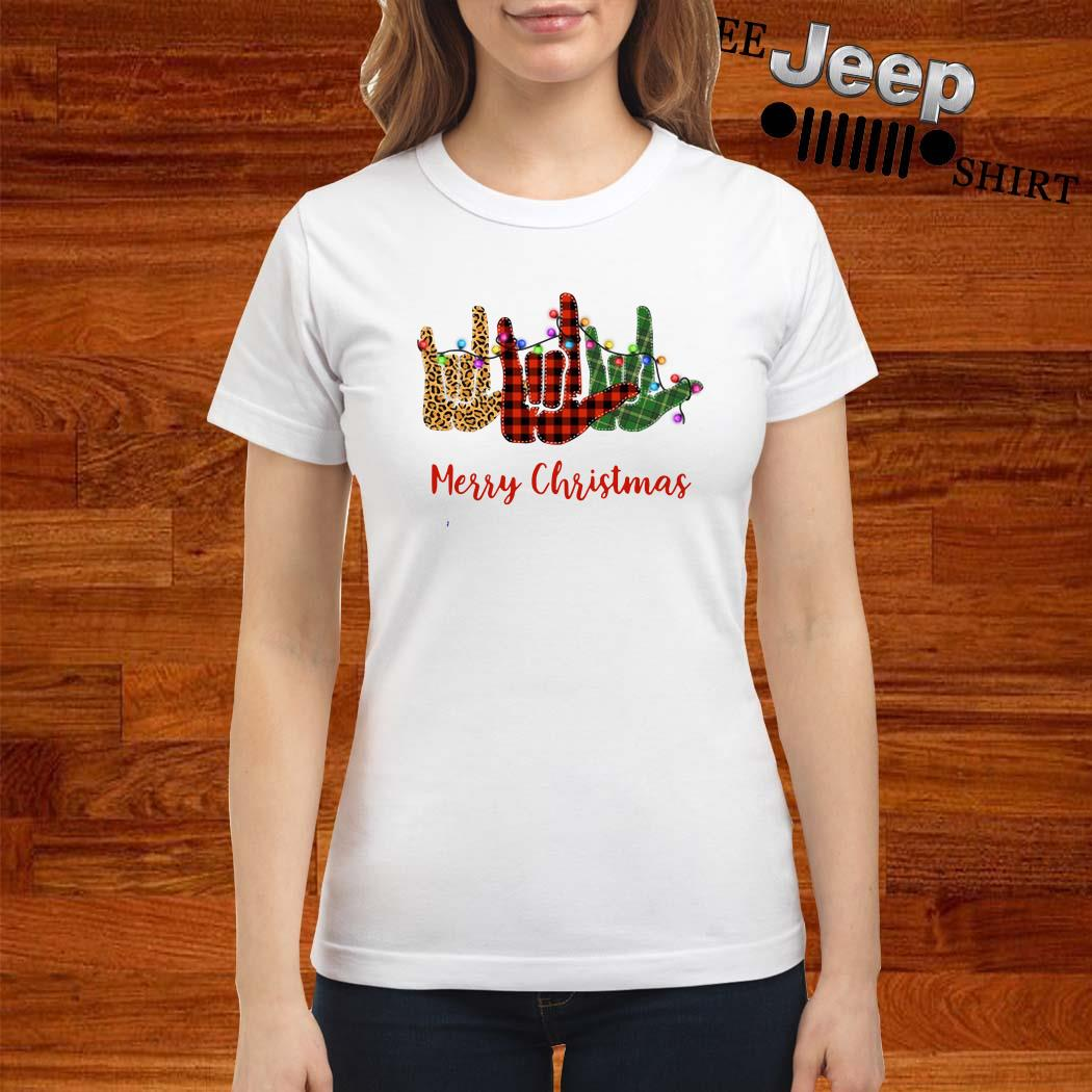Hand I Love You Merry Christmas Ladies Shirt