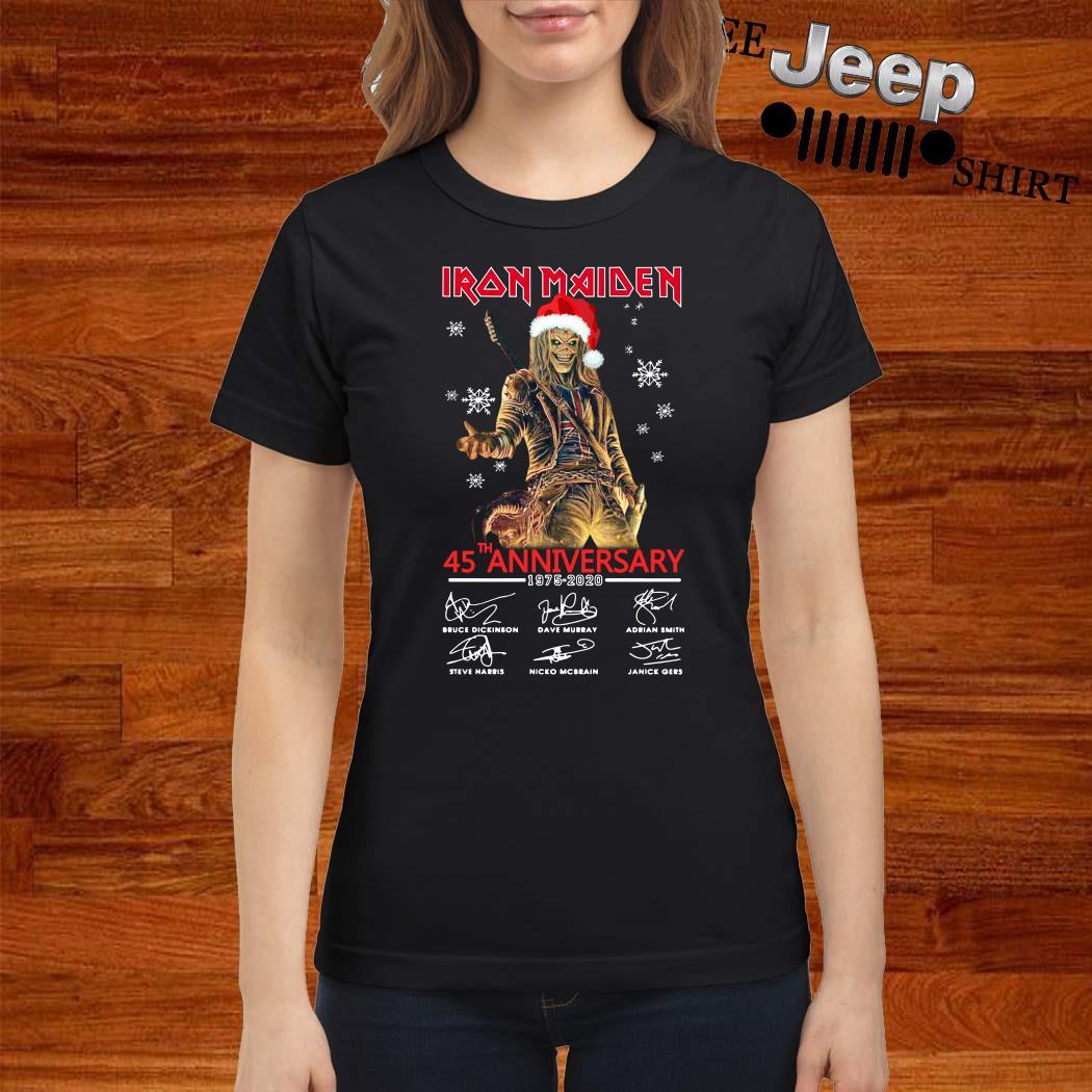 Iron Maiden Santa 45th Anniversary 1975-2020 Signatures Ladies Shirt