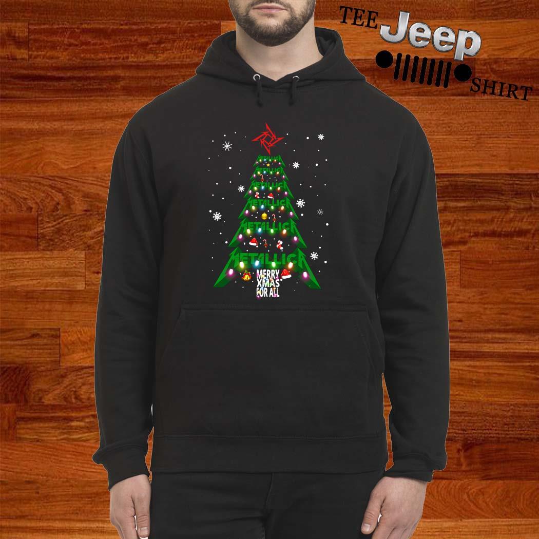 Metallic Merry Xmas For All Christmas Tree Hoodie