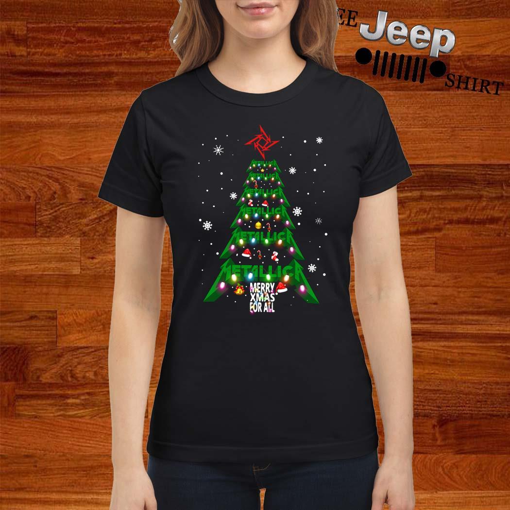 Metallic Merry Xmas For All Christmas Tree Ladies Shirt