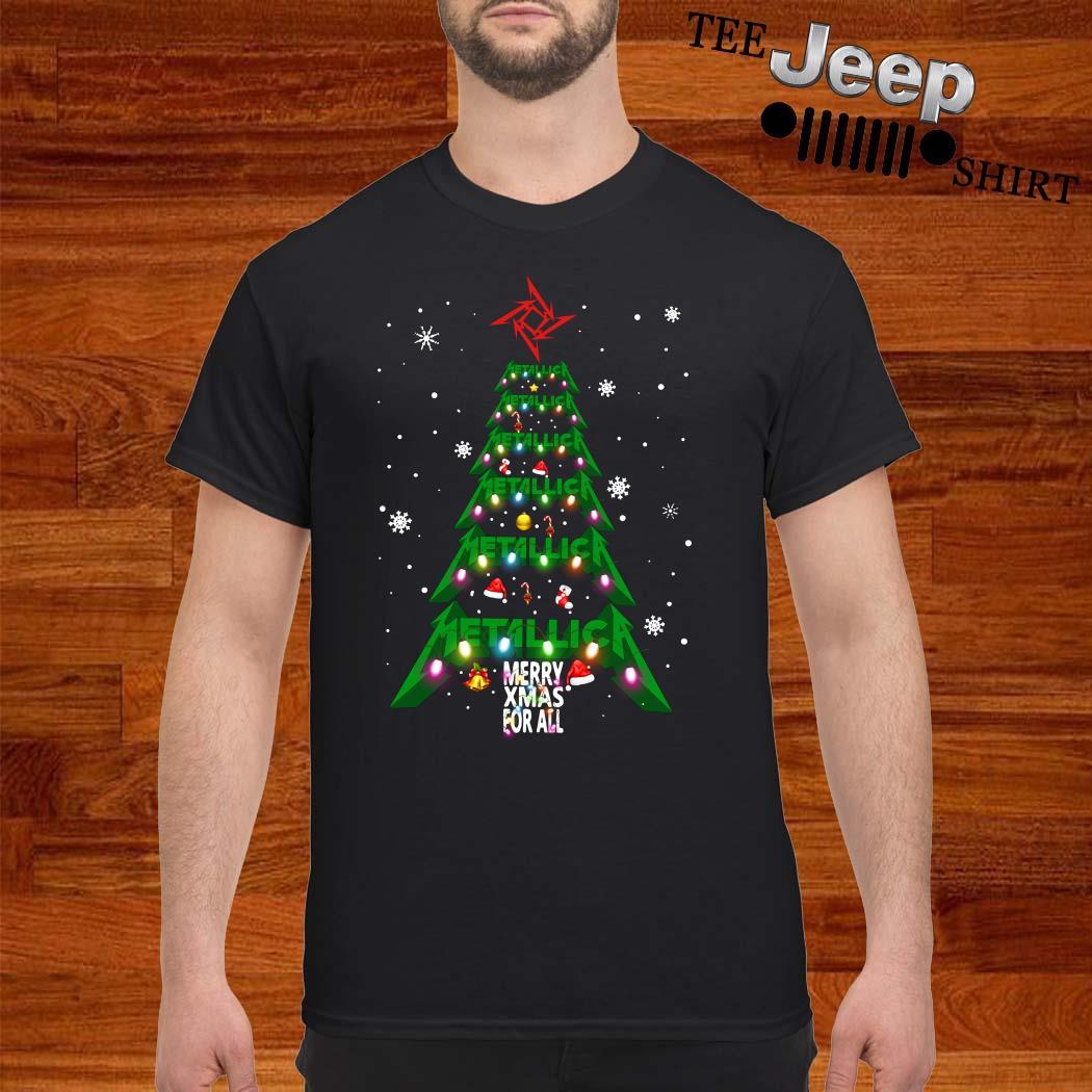 Metallic Merry Xmas For All Christmas Tree Shirt