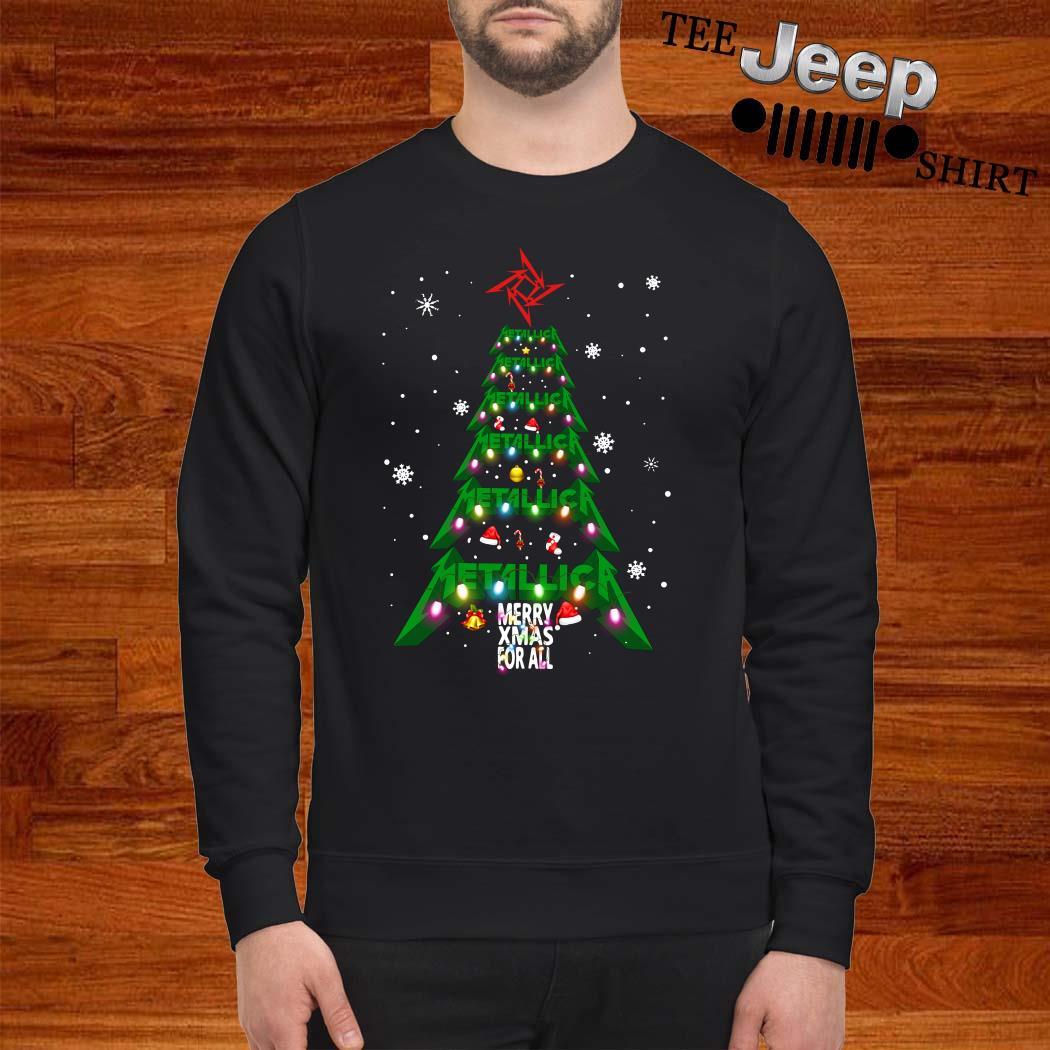 Metallic Merry Xmas For All Christmas Tree Sweatshirt