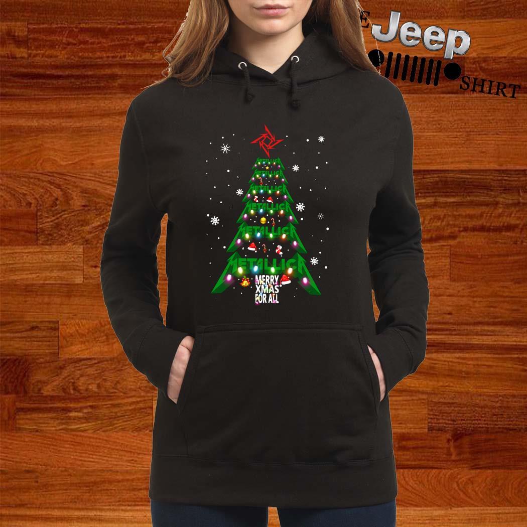Metallic Merry Xmas For All Christmas Tree Women Hoodie