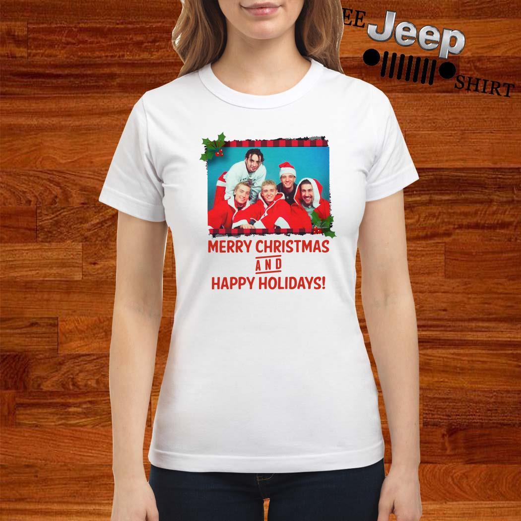 NSYNC Merry Christmas And Happy Holidays Ladies Shirt