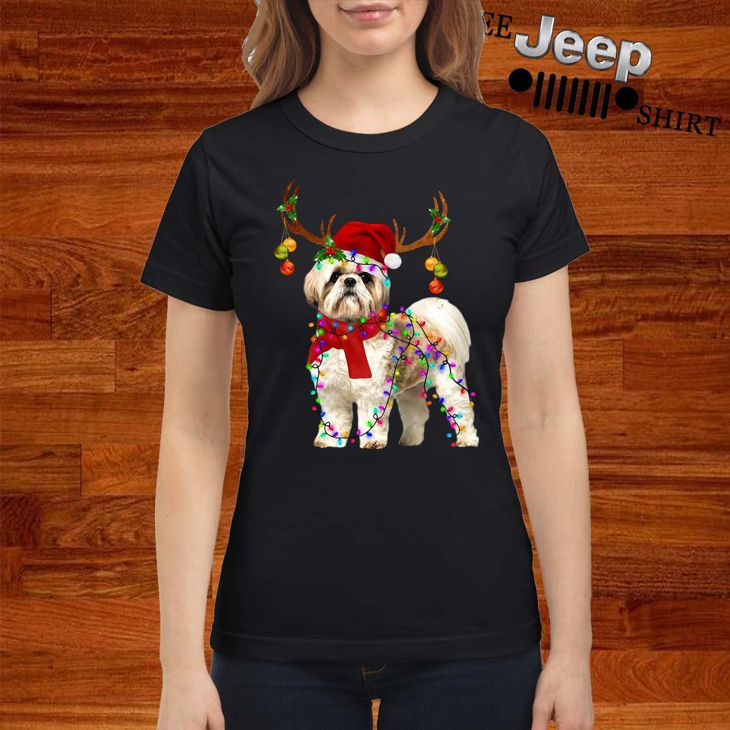 Shih Tzu Gorgeous Reindeer Christmas Ladies Shirt