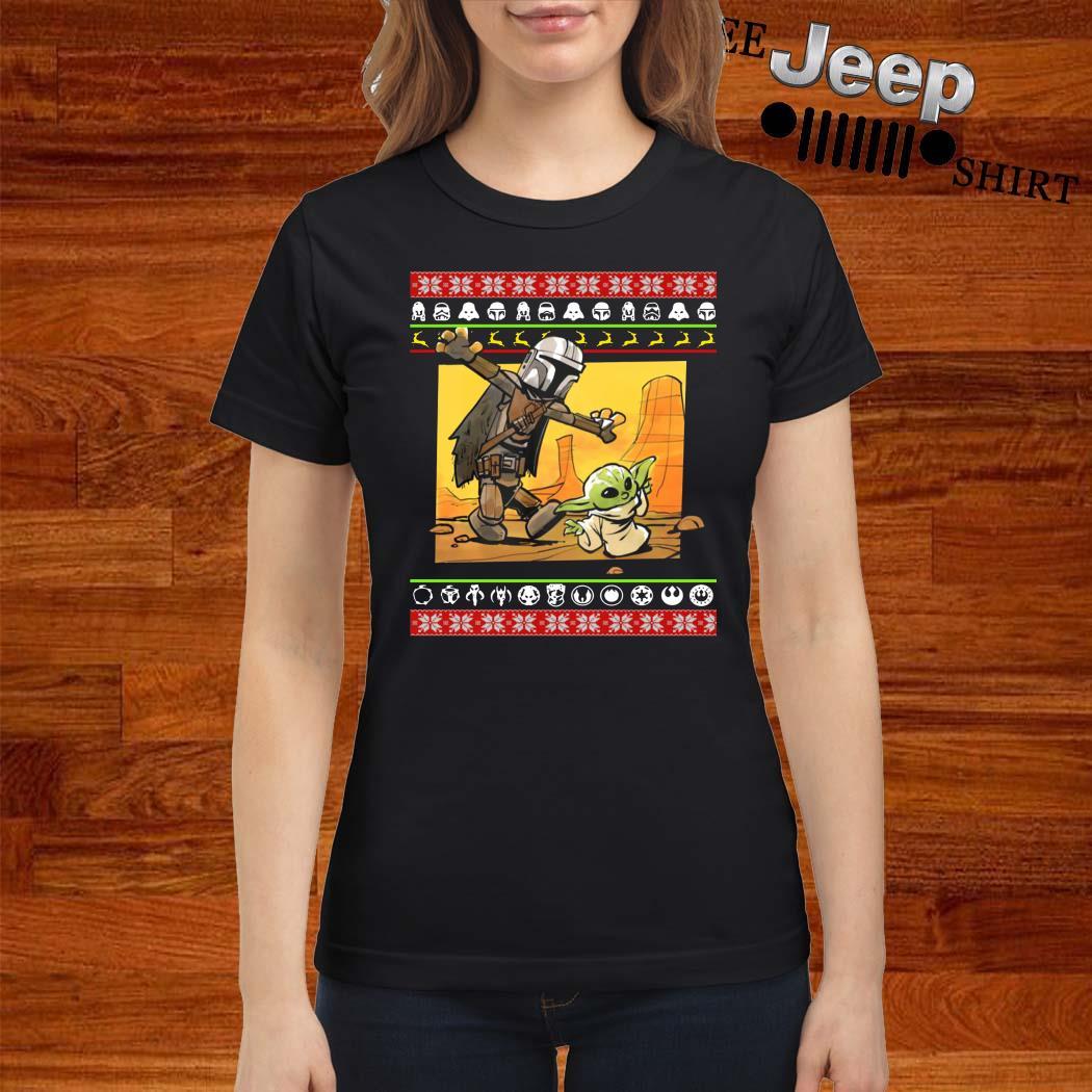 Star Wars Stormtrooper And Baby Yoda Christmas Ladies shirt