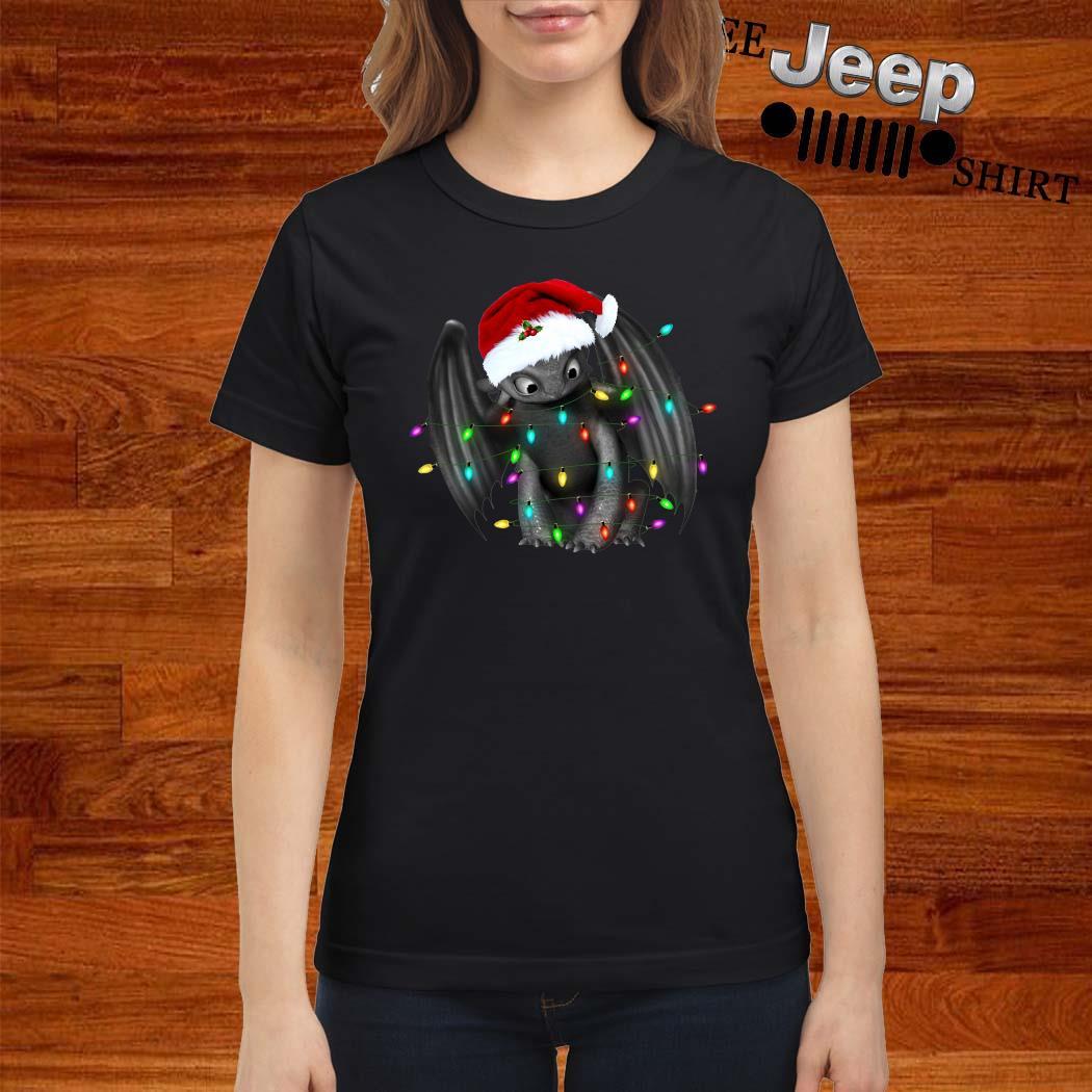 Toothless Dragon Santa Christmas Light Ladies Shirt
