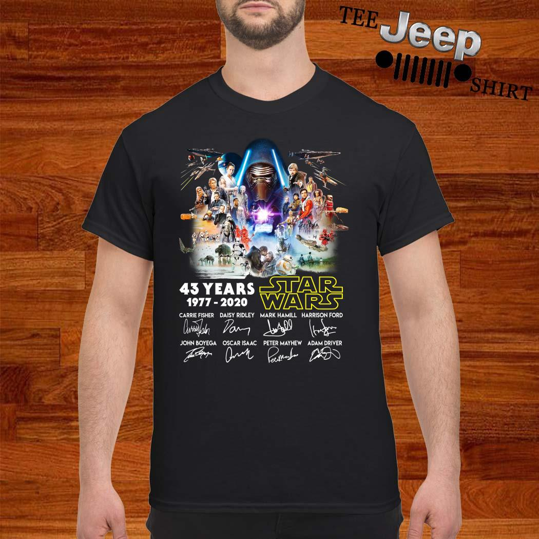 43 Years Star Wars 1977-2020 Characters Signature Shirt