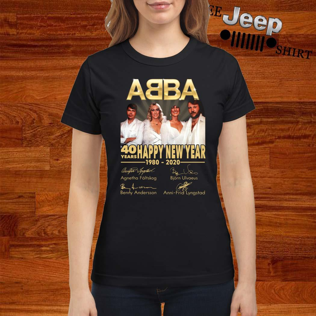 ABBA 40 Years Happy New Year 1980-2020 Signature Ladies Shirt