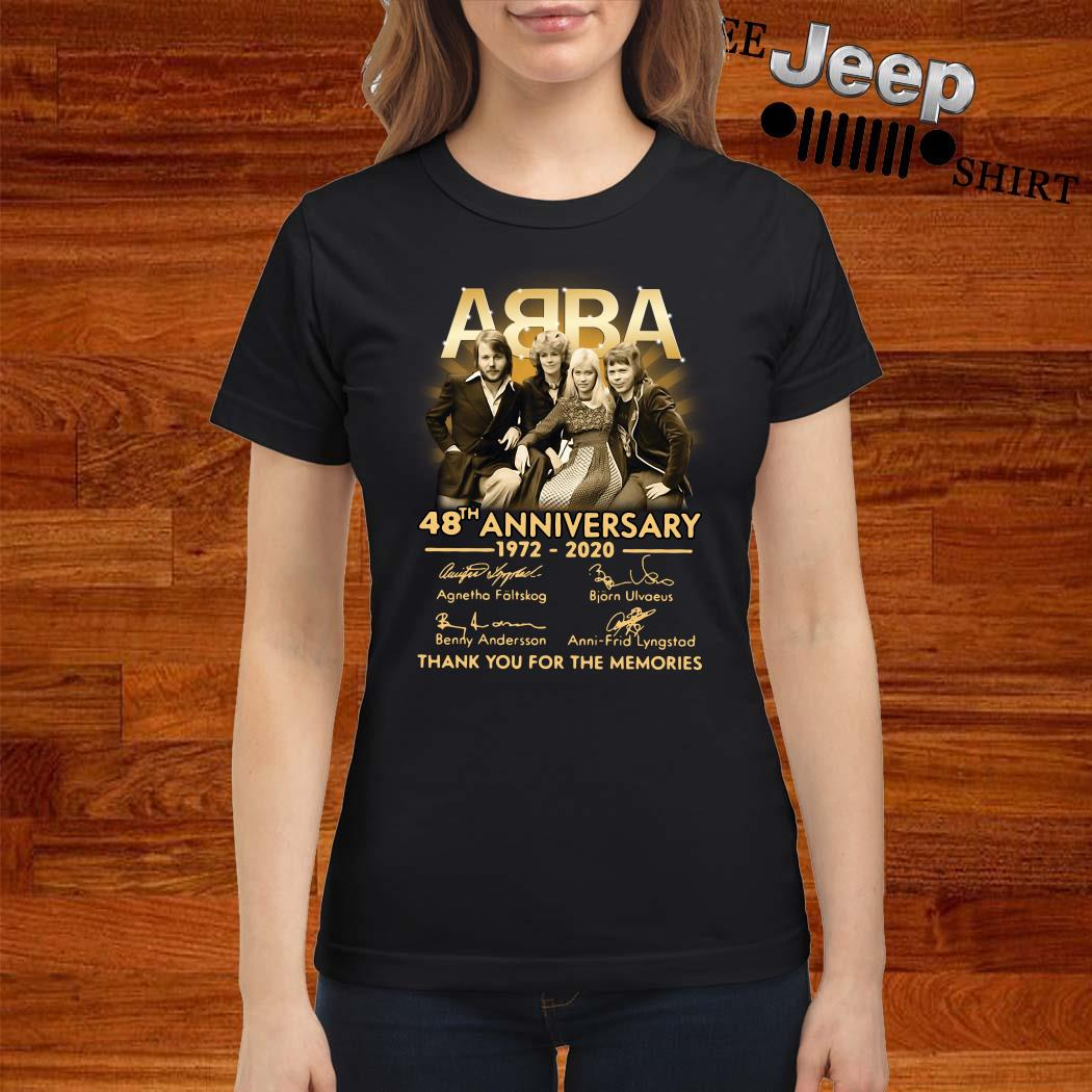 ABBA 48th Anniversary 1972 2020 Thank You For The Memories Ladies Shirt
