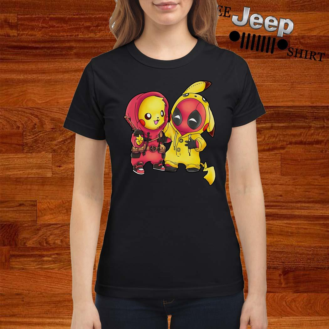 Baby Deadpool And Baby Pikachu Ladies Shirt