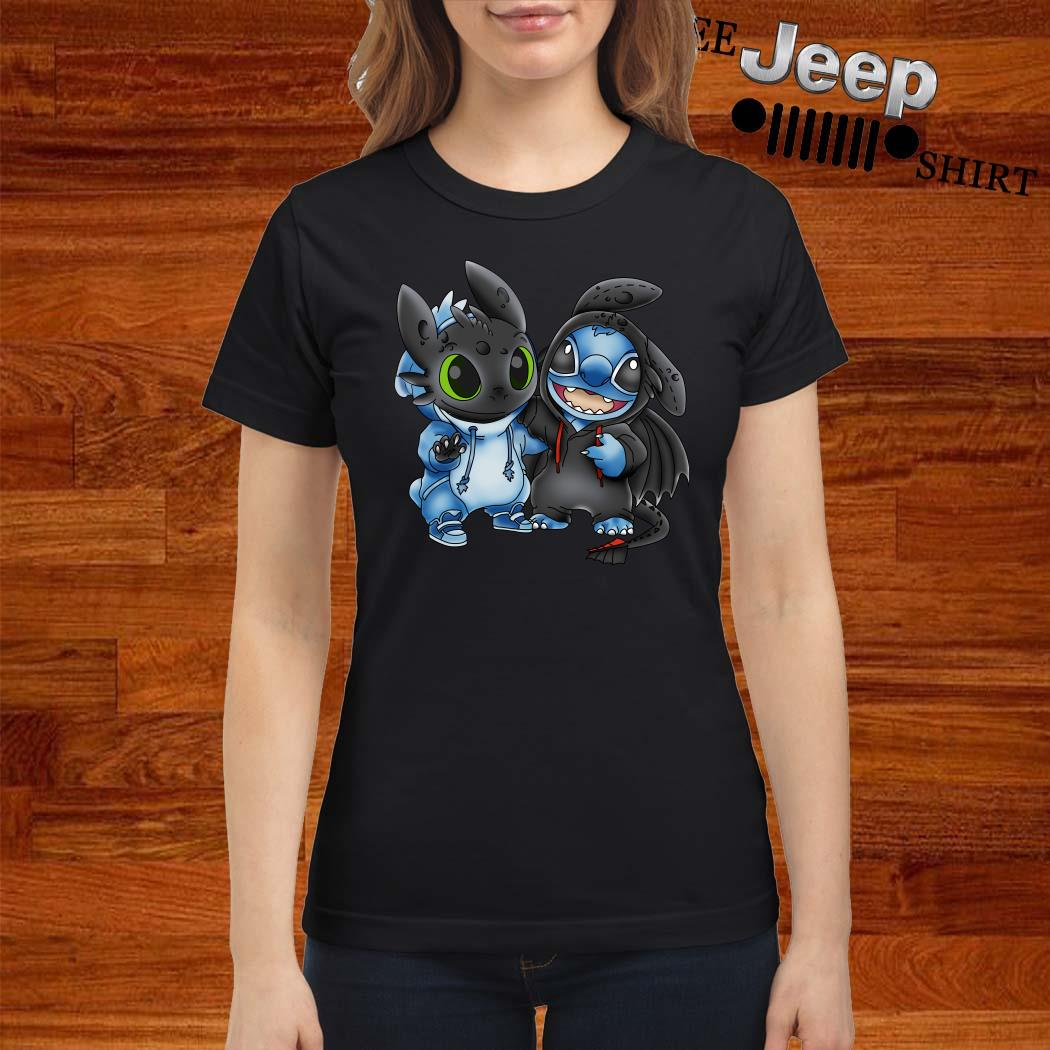 Baby Toothless And Baby Stitch Ladies Shirt