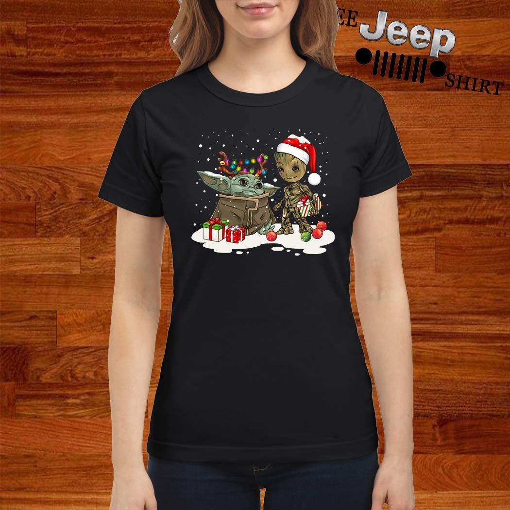 Baby Yoda And Groot Santa Christmas Ladies Shirt