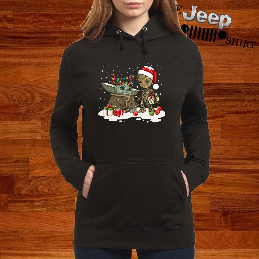 Baby Yoda And Groot Santa Christmas Women Hoodie
