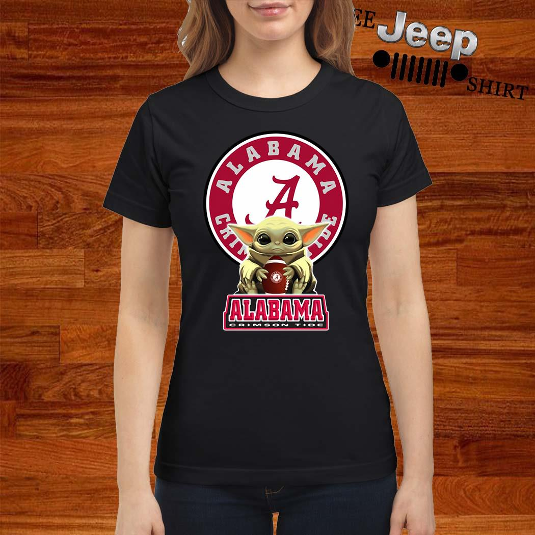 Baby Yoda Hug Alabama Crimson Tide Ladies Shirt