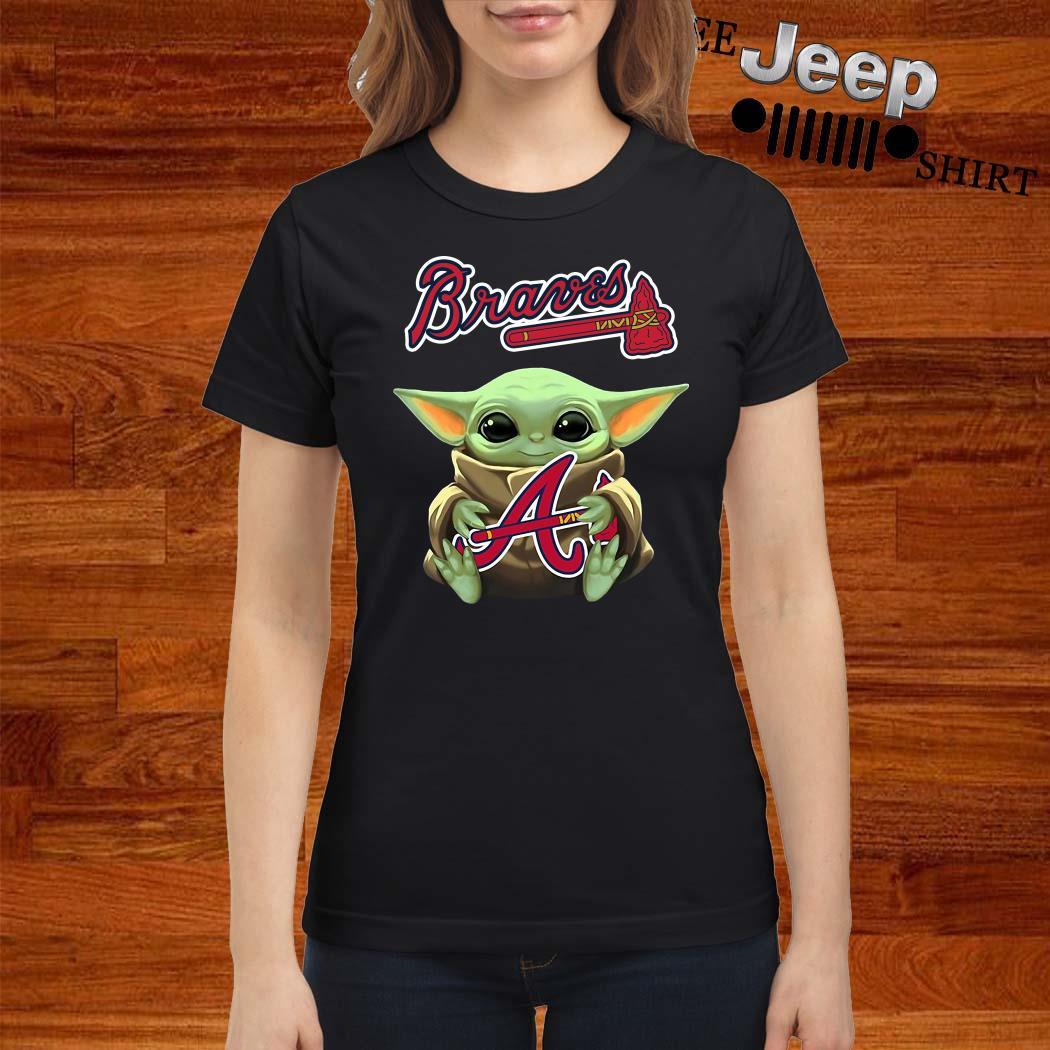 Baby Yoda Hug Atlanta Braves Ladies Shirt
