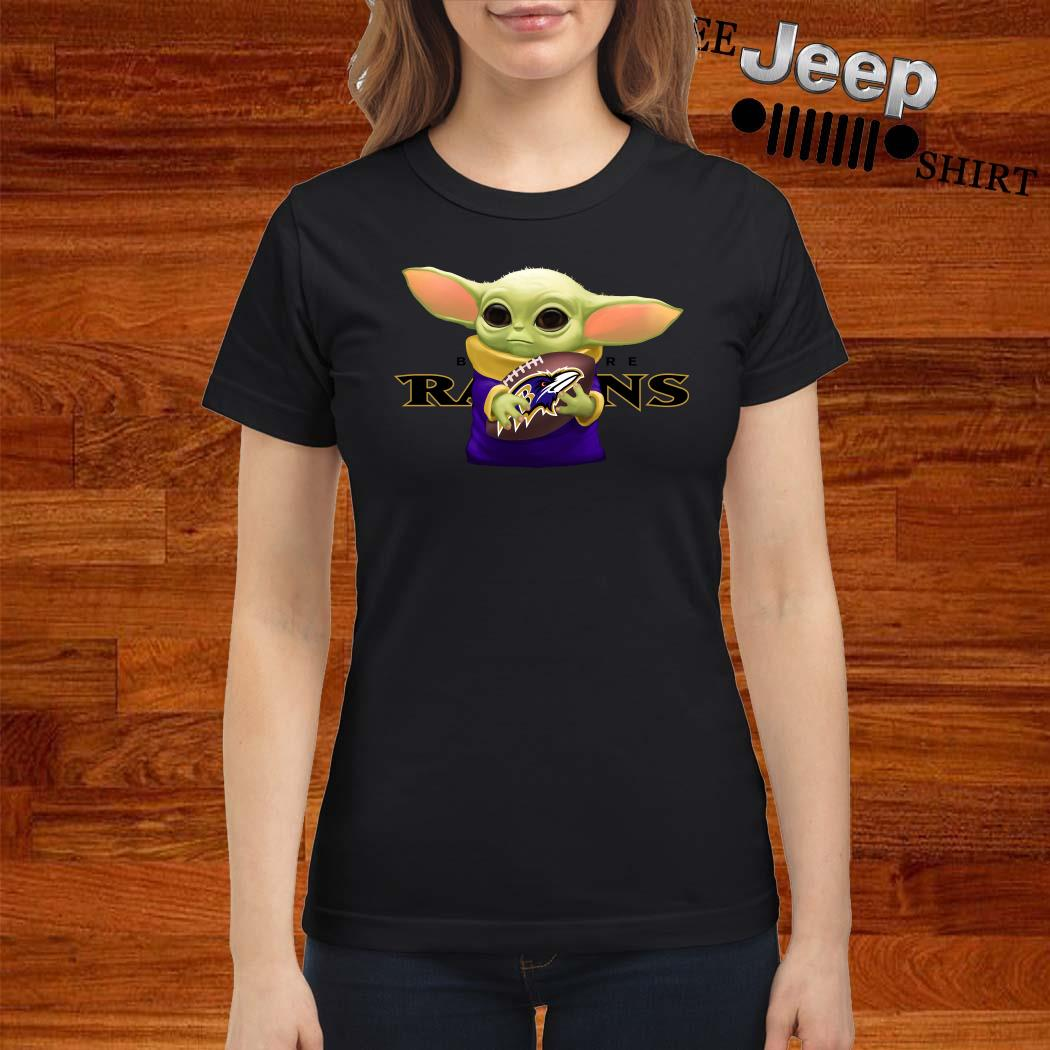 Baby Yoda Hug Baltimore Ravens Ladies Shirt