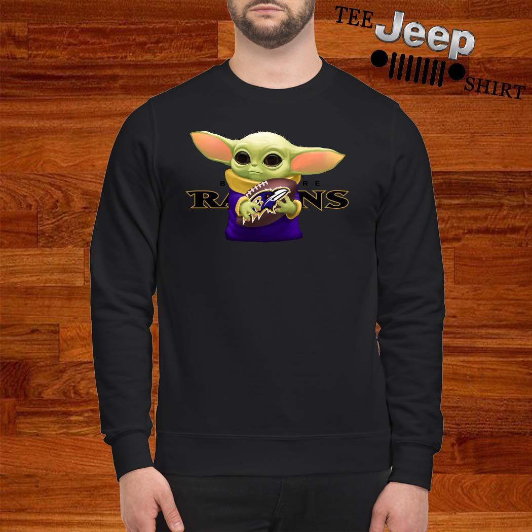 Baby Yoda Hug Baltimore Ravens Sweater