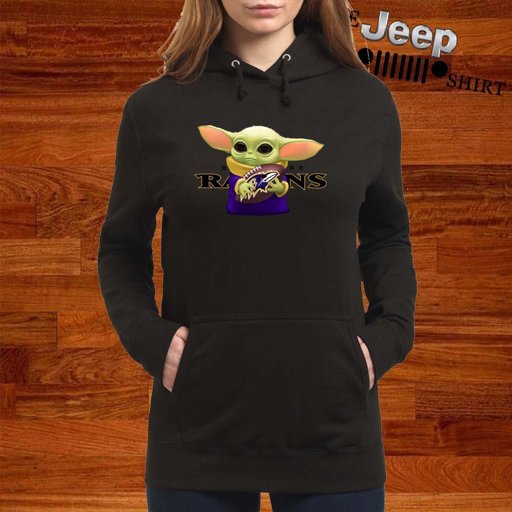 Baby Yoda Hug Baltimore Ravens Women Hoodie
