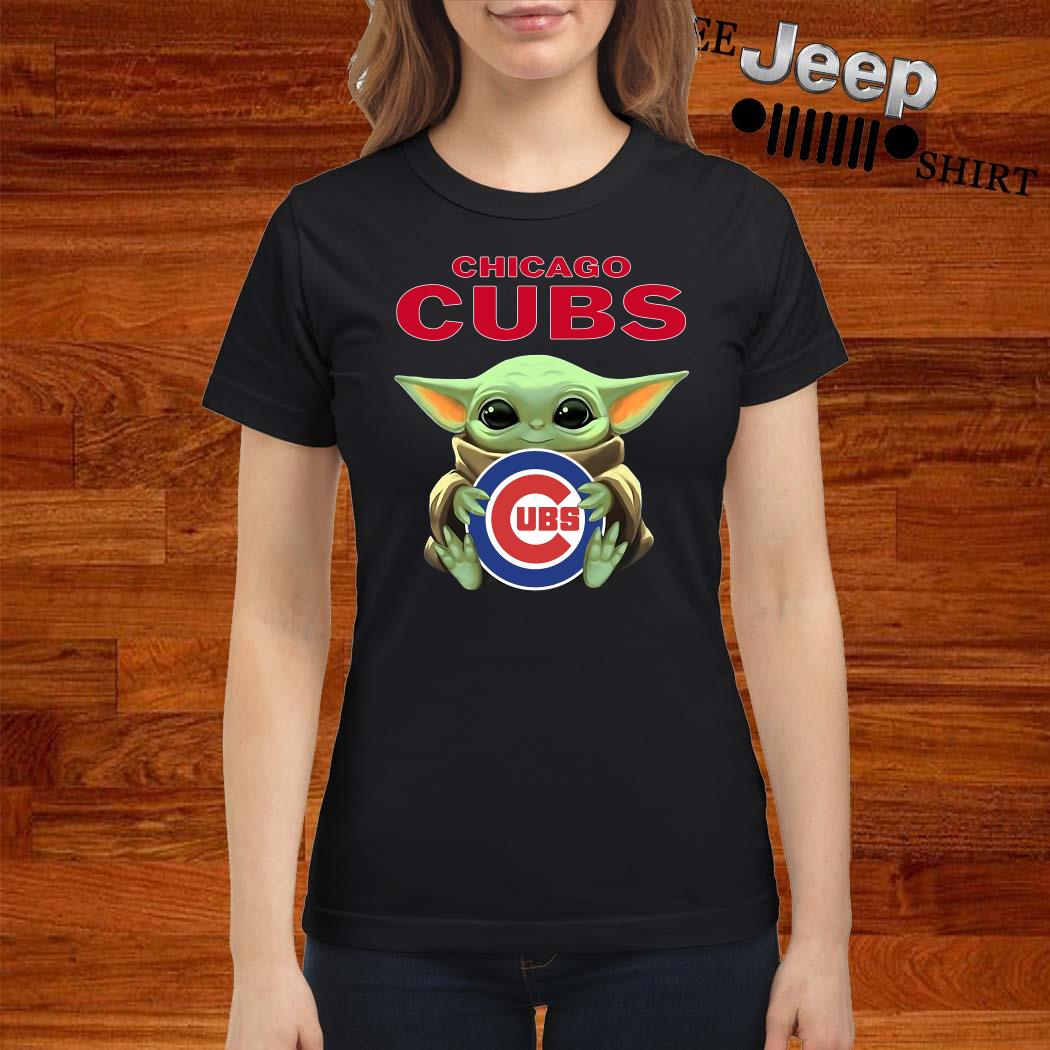 Baby Yoda Hug Chicago CUBS Ladies Shirt
