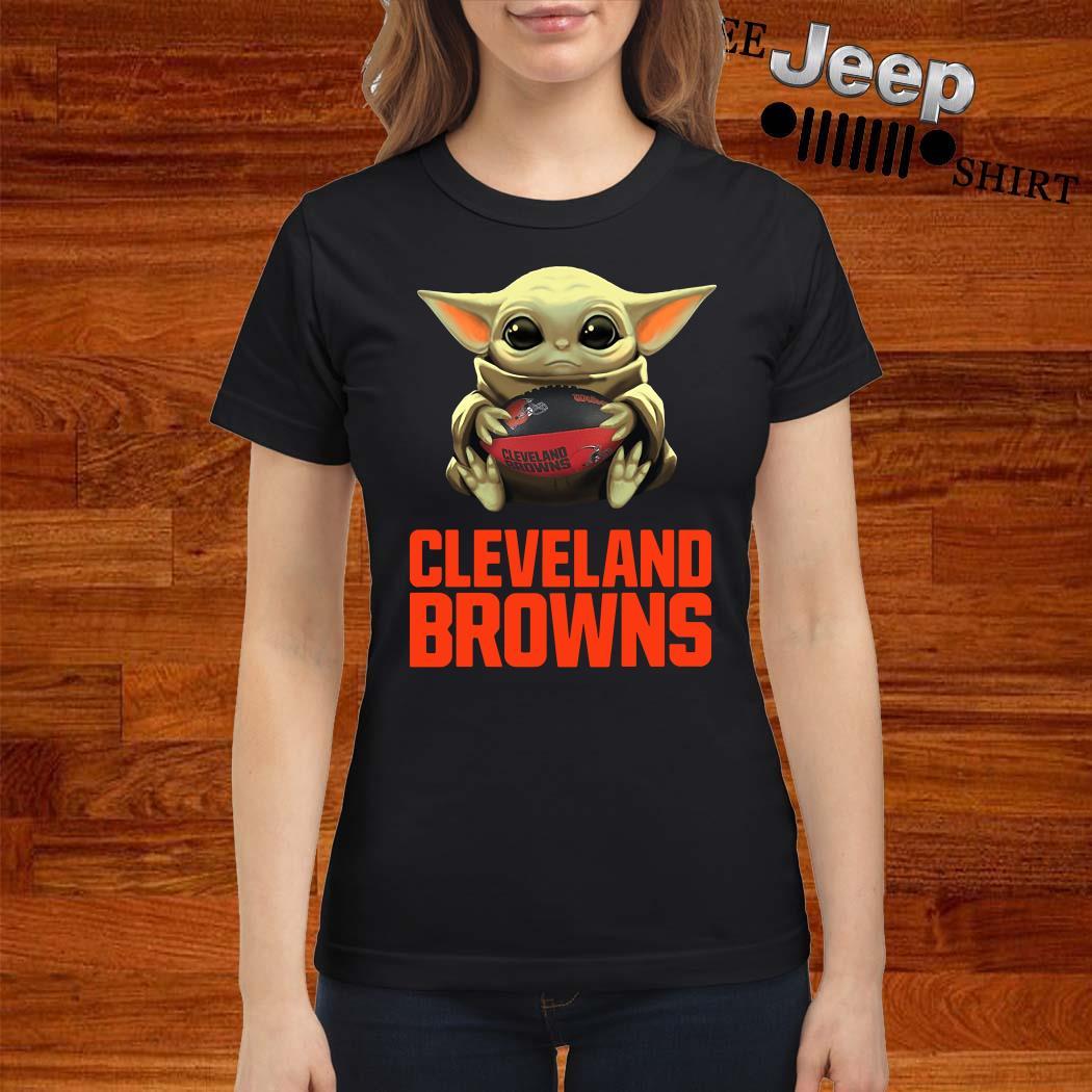 Baby Yoda Hug Cleveland Browns Ladies Shirt