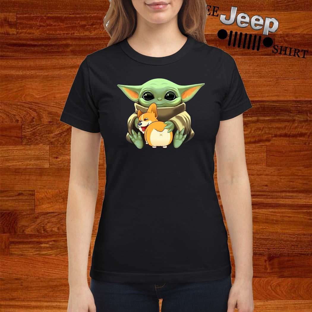 Baby Yoda Hug Corgi Ladies Shirt