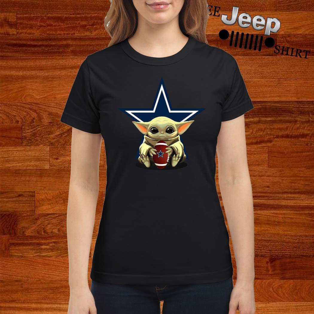 Baby Yoda Hug Dallas Cowboys Ladies Shirt