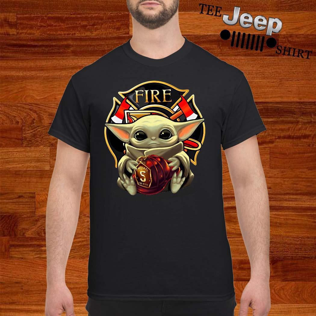 Baby Yoda Hug Firefighter Captain Shirt