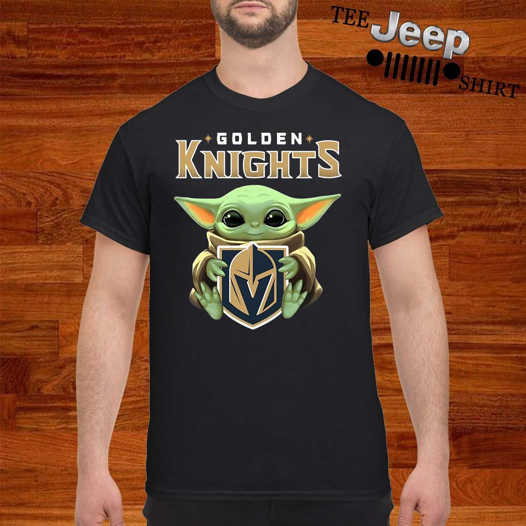Baby Yoda Hug Golden Knights Shirt