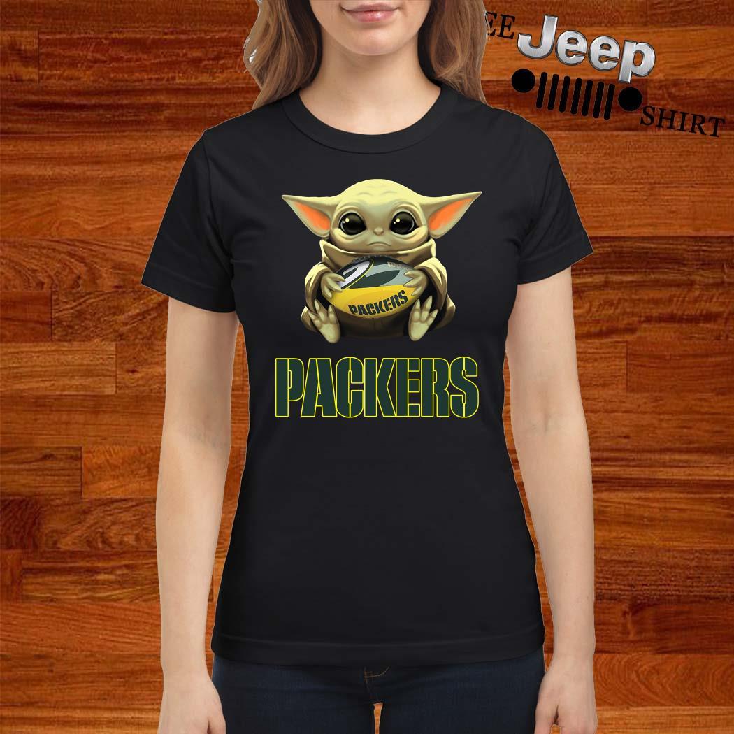 Baby Yoda Hug Green Bay Packers Ladies Shirt