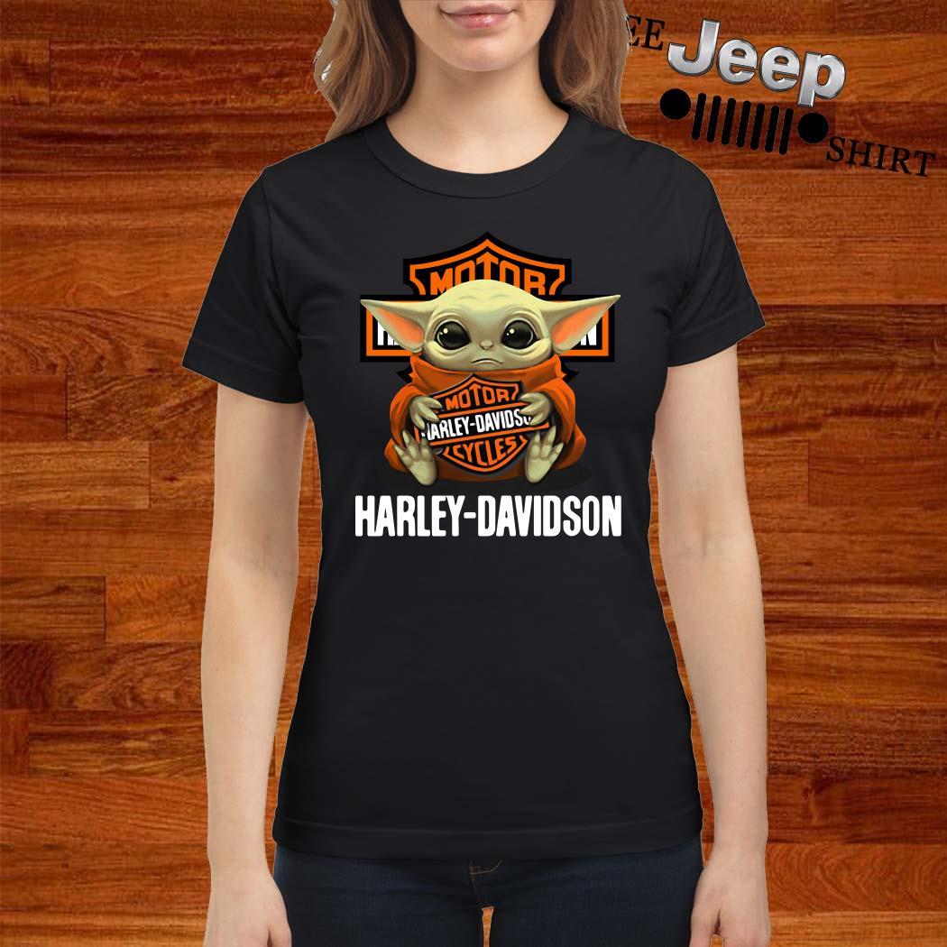 Baby Yoda Hug Harley Davidson Ladies Shirt