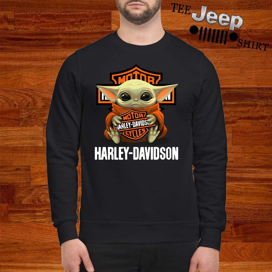 Baby Yoda Hug Harley Davidson Sweatshirt