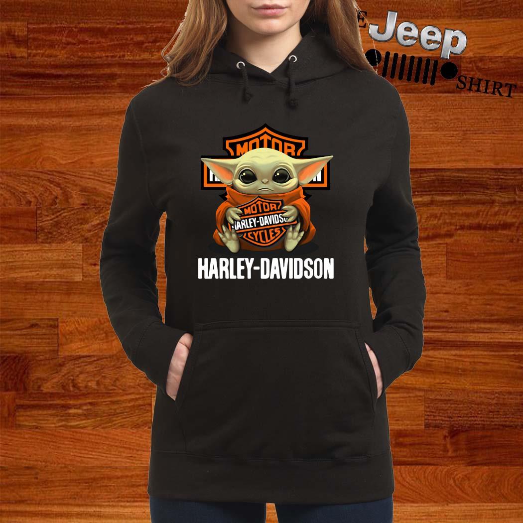 Baby Yoda Hug Harley Davidson Hoodie