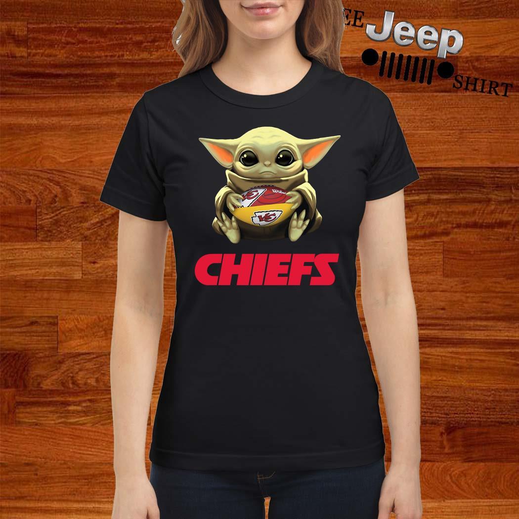 Baby Yoda Hug Kansas City Chiefs Ladies Shirt