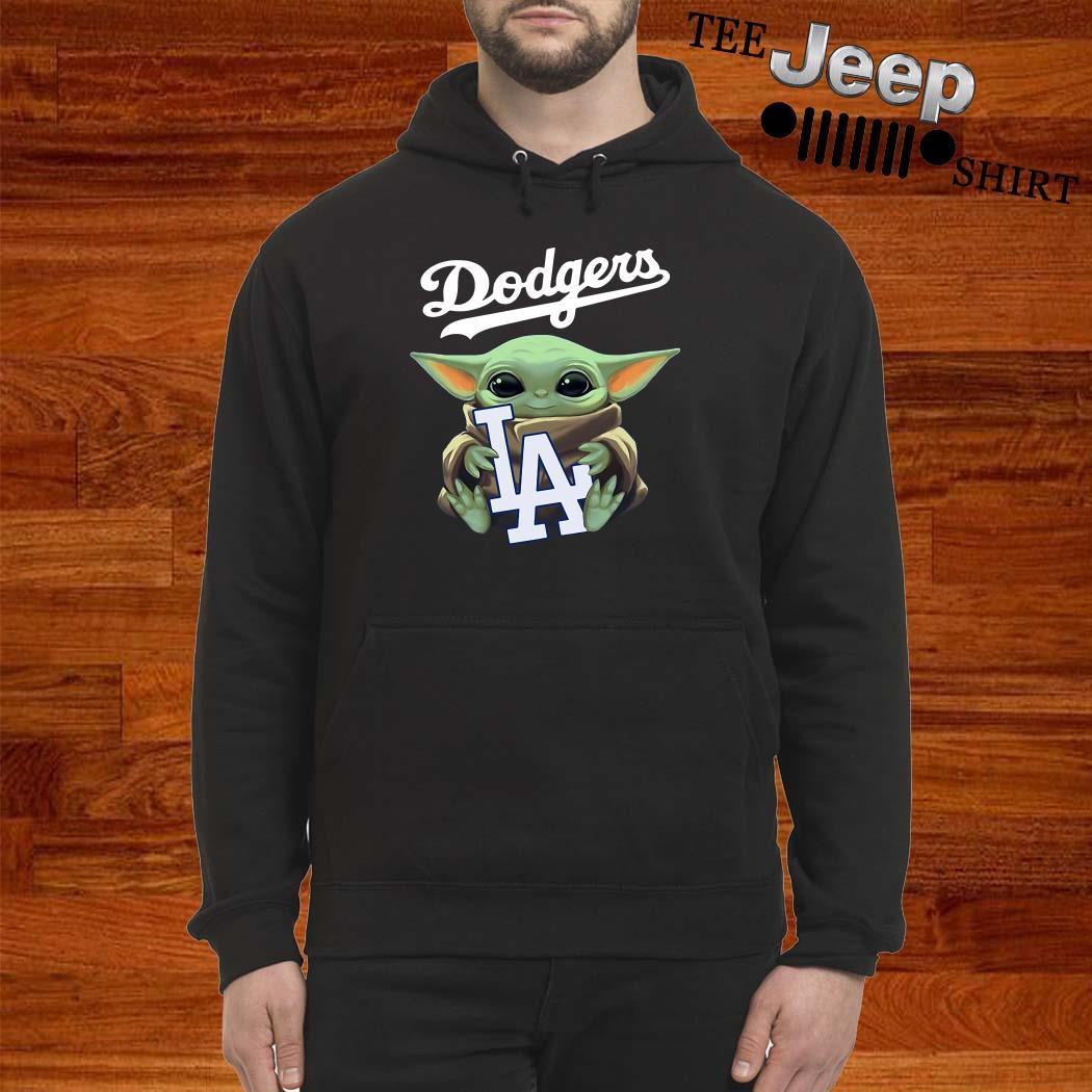 Baby Yoda Hug Los Angeles Dodgers Hoodie