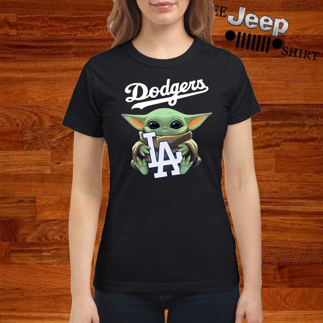 Baby Yoda Hug Los Angeles Dodgers Ladies Shirt