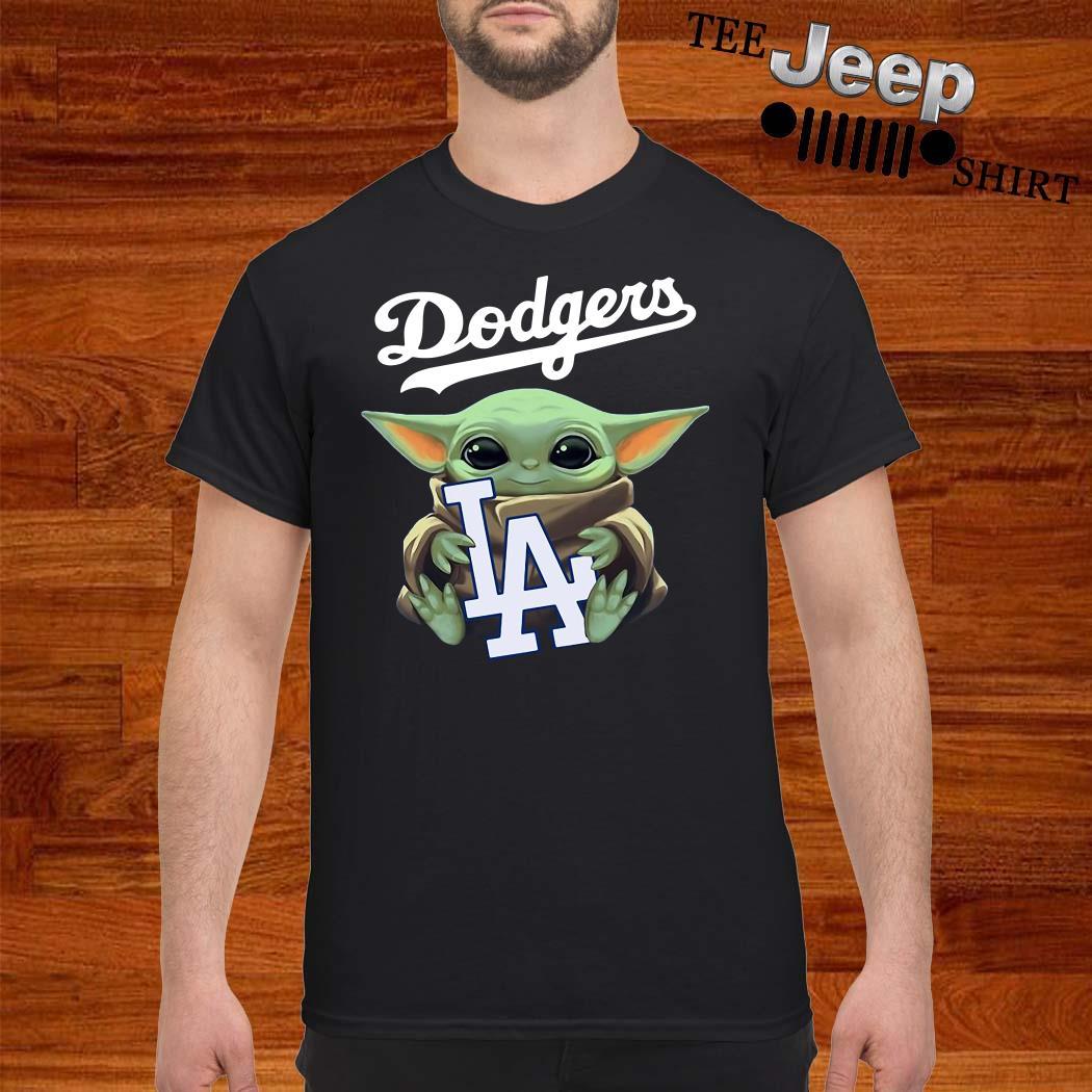 Baby Yoda Hug Los Angeles Dodgers Shirt