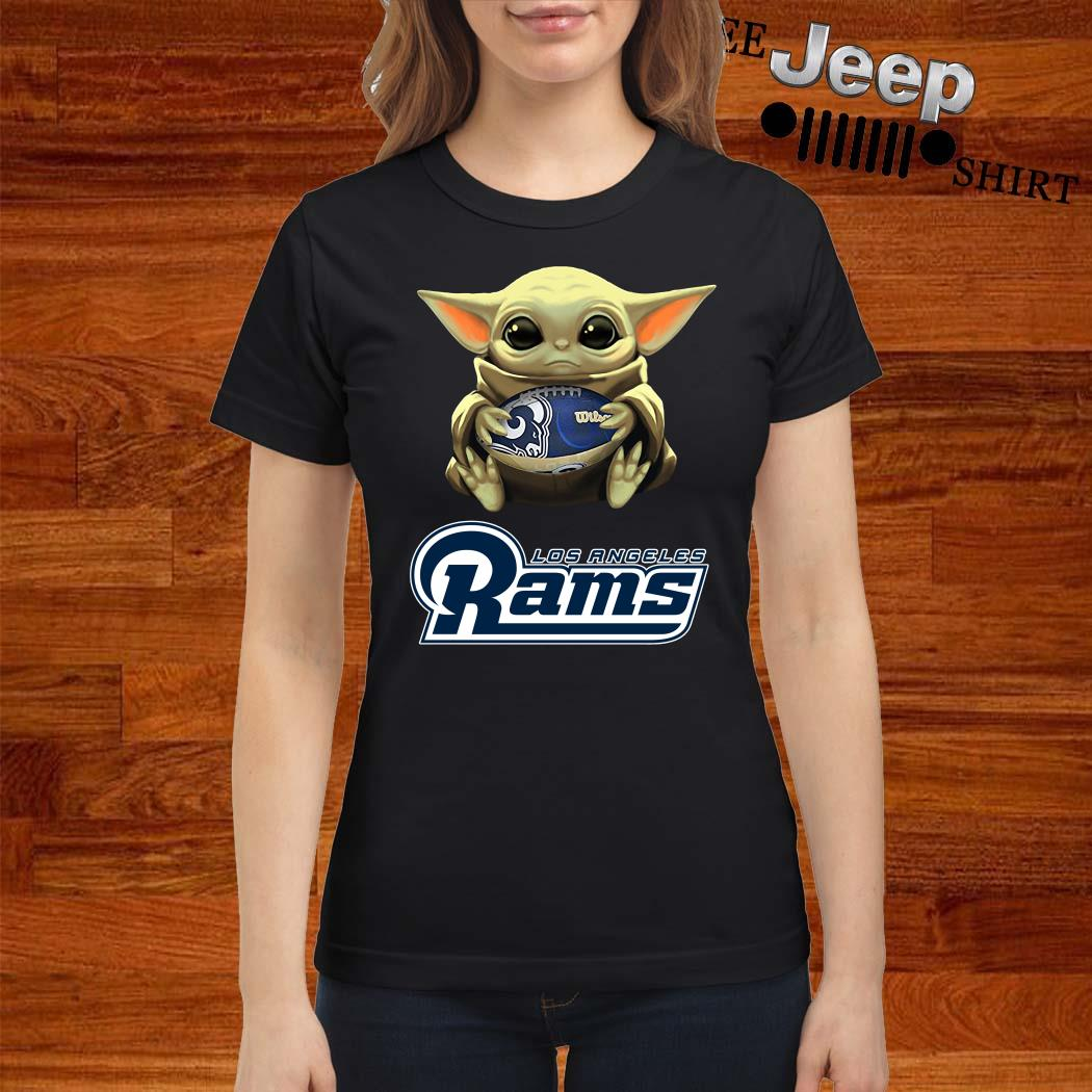 Baby Yoda Hug Los Angeles Rams Ladies Shirt