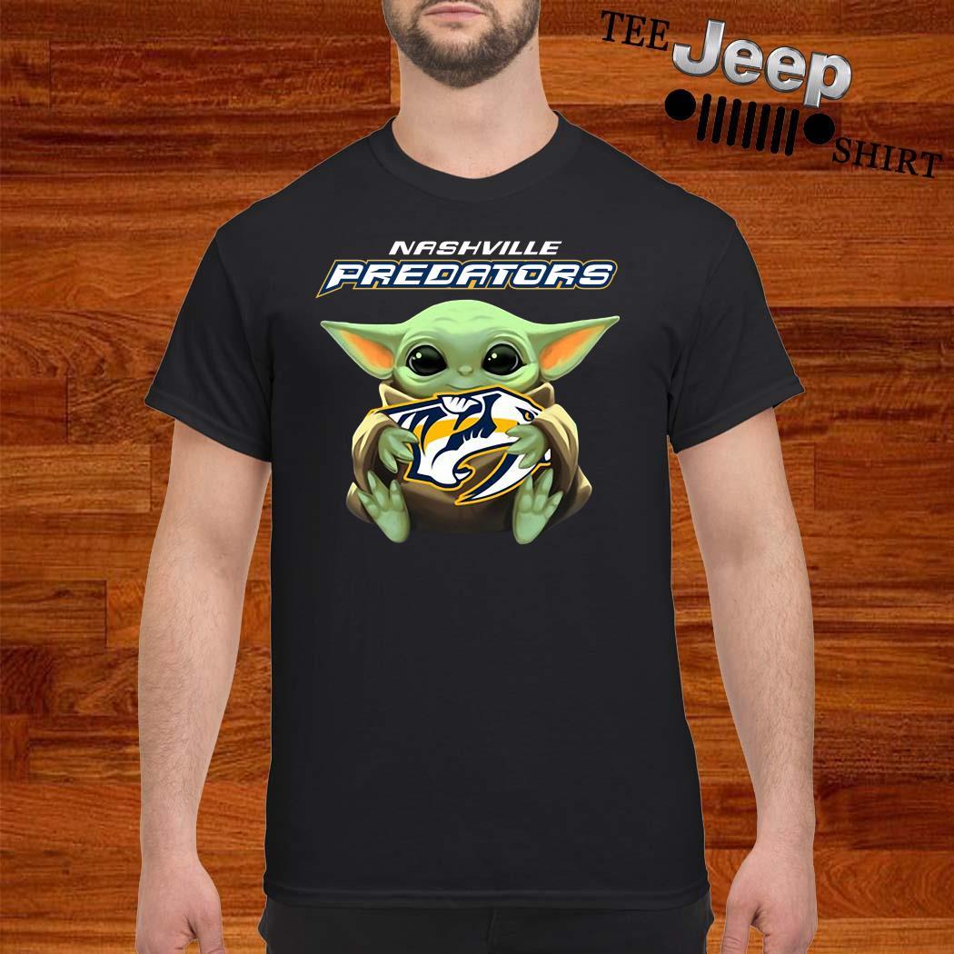 Baby Yoda Hug Nashville Predators Shirt