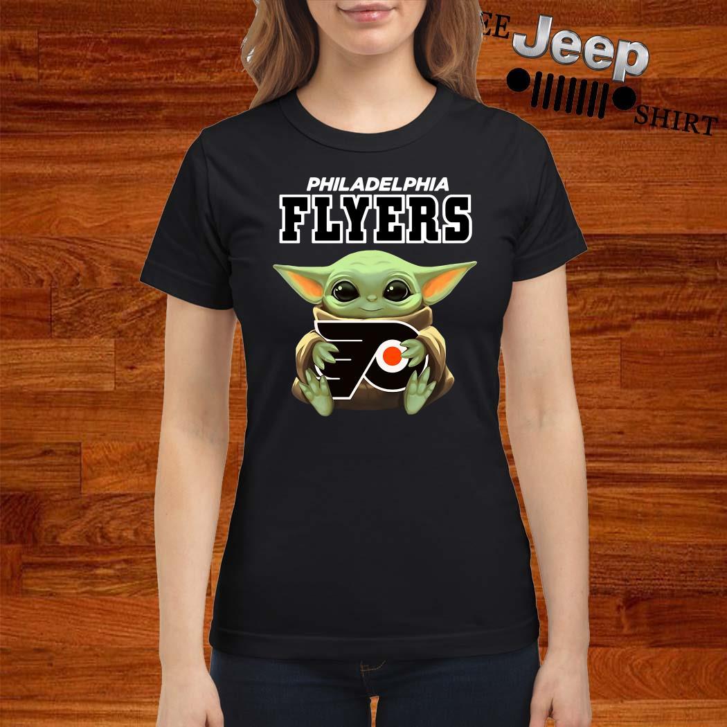 Baby Yoda Hug Philadelphia Flyers Ladies Shirt