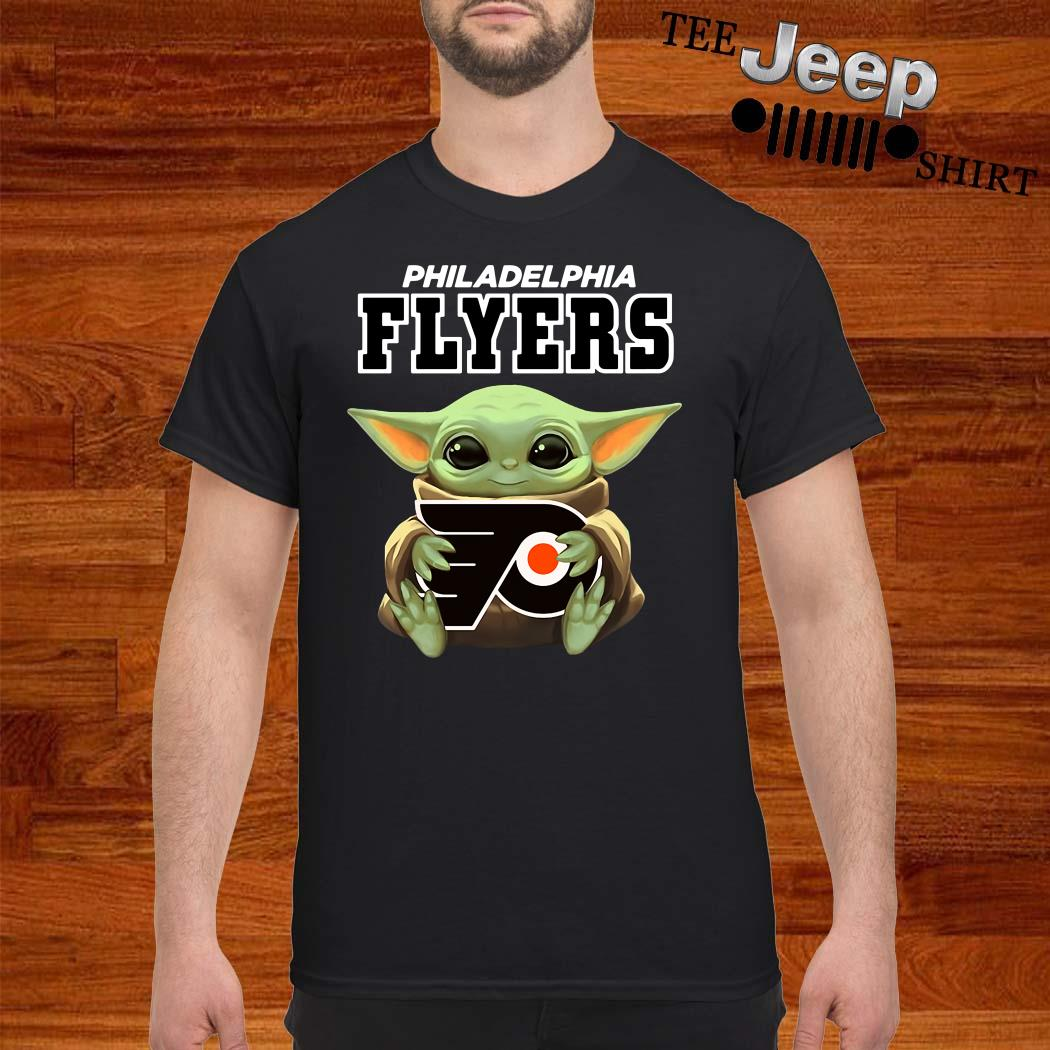 Baby Yoda Hug Philadelphia Flyers Shirt